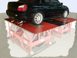 Adjustable wheelbase in-ground 44-inch AWD twin-roll dynos (with or without absorbers) handle 3,000+ Hp at 225 MPH. Mechanical (or optional electronic) roll synchronization.